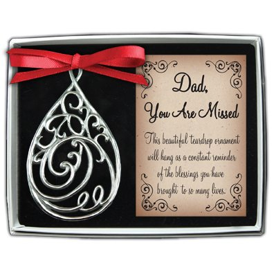 Filigree Christmas Cards - Cathedral Art TDO102 Dad Teardrop Memorial Ornament, 3-5/8-Inch