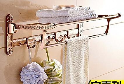 DACHUI Toallas de baño baño Parrilla Laca de Color Oro Rosa Flores talladas Plegable de Tubo