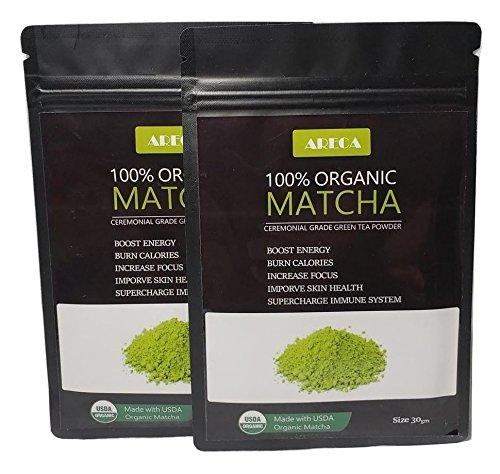 Areca Matcha Green Tea Powder - 100% Organic Premium Ceremonial Grade Made With USDA Certificate 30gm(Pack of 2)
