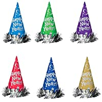 """Rocking New Year's Party Metallic Glitter Cone Hats Accessory, Multi Color, Paper, 9"""", Pack of 12"""