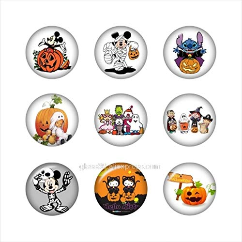 Calvas Cartoon Halloween Round Photo Glass cabochon Demo Flat Back Making findings ZX1282 - (Color: 9pcs Mixed Set, Item Diameter: White Phone Holder) -
