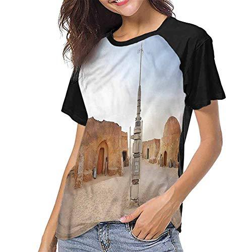 (Mangooly Baseball Tee Shirt,Galaxy,Planet Town Wars Image S-XXL Ladies Baseball Tee)