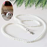 Cdycam 120cm 4ft Custom Pearls Beaded Pet Dog Cat Training Walking Leash Lead Leashes
