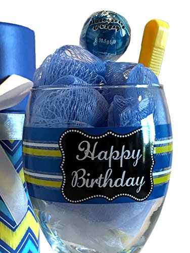 Happy Birthday Wine - Happy Birthday Wine Gift Set - Happy Birthday Wine Gifts- Perfect Birthday Gift For The Wine Lover (Bath Salt Sundae - Blue & Yellow Happy Birthday)