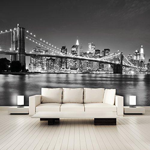 FOTOTAPETE 'I Love New York 105' 366cm x 254cm Manhattan USA Amerika Skyline Nighttime schwarz weiß XXL NEU
