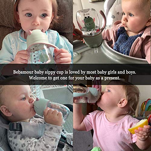 Bebamour Sippy Cup 6-36 Months Non Spill Straw Cup for Toddlers Soft Spout Cup Spill Proof Water Bottler for Kids, BPA Free, PPSU, 210ML, Green