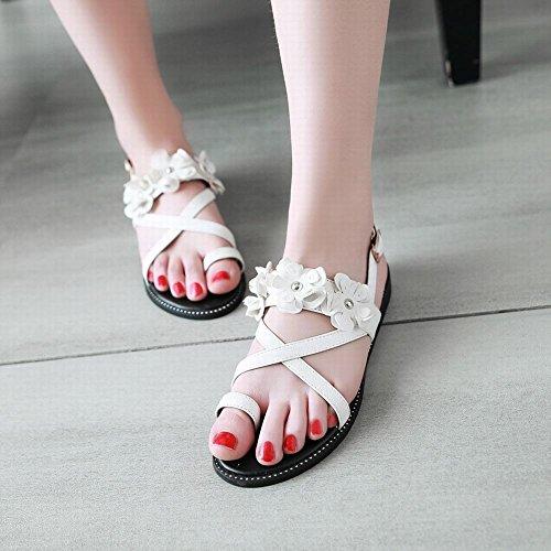 Mee Shoes Damen Flach Toe-Strap Blumen Sandaletten Weiß