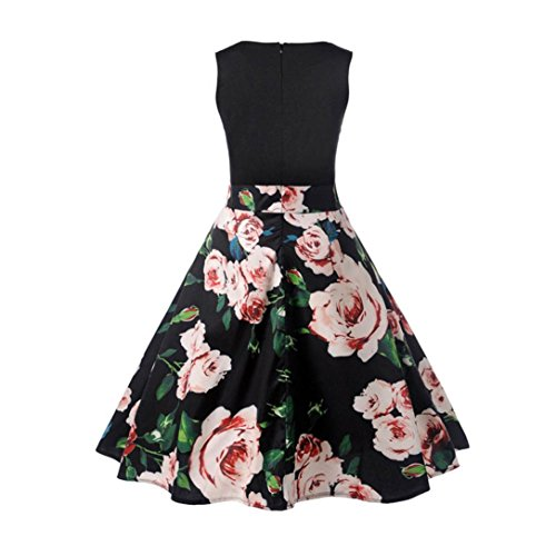 Clearance AgrinTol Printing Bodycon Black1 Swing Casual Prom Vintage Party Sleeveless Dress Women Summer Evening Dress 5xqYw1Bn