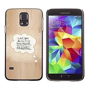 A-type Arte & diseño plástico duro Fundas Cover Cubre Hard Case Cover para Samsung Galaxy S5 (Beautiful Love Quote Bubble Text Brown)
