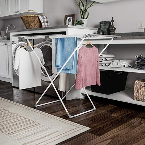 Home Extendable Clothes Drying Rack - Telescoping Laundry Sorter with Rust Resistant Metal X-Frame for Folding and Hanging Garments by Lavish ()