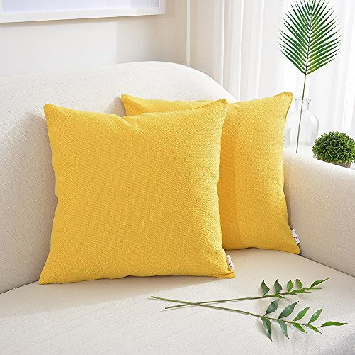 NATUS WEAVER 2 Pieces Blended Weaving Soft Cotton Linen Decorative Square Throw Cushion Covers Pillowcase for Home Decoration,24 x 24 Inch, Bright Yellow
