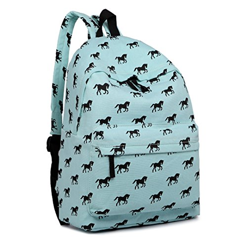 Miss Lulu School Backpacks Canvas Bookbag Cute Printed Leisure Backpack for Teenage Girls (1401H Horse Blue)