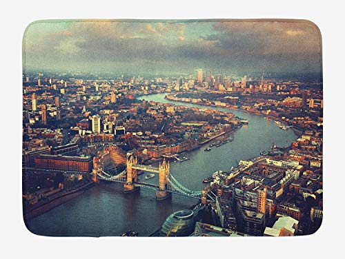 Weeosazg London Bath Mat, Panoramic Picture of Thames River and Tower Bridge Famous Cityscape, Plush Bathroom Decor Mat with Non Slip Backing, 23.6 W X 15.7 W Inches, Orange Beige Almond Green]()