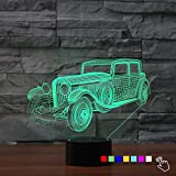 3D Classic Antique Car Truck Night Light Touch Switch Decor Table Desk Optical Illusion Lamps 7 Color Changing Lights LED Table Lamp Xmas Home Love Brithday Children Kids Decor Toy Gift