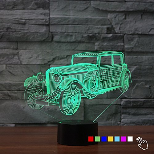 3D Classic Antique Car Truck Night Light Touch Switch Decor Table Desk Optical Illusion Lamps 7 Color Changing Lights LED Table Lamp Xmas Home Love Brithday Children Kids Decor Toy Gift by MOLLY HIESON