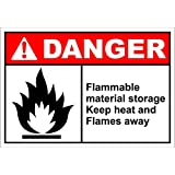 Flammable Material Storage Danger OSHA/ANSI Label Decal Sticker 7 inches x 5 inches