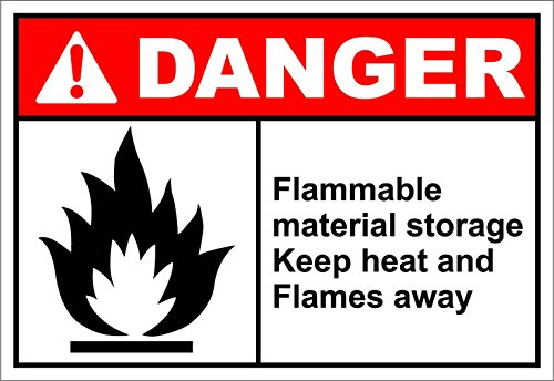 Flammable Material Storage Danger OSHA / ANSI LABEL DECAL STICKER 7 inches x 5 ()