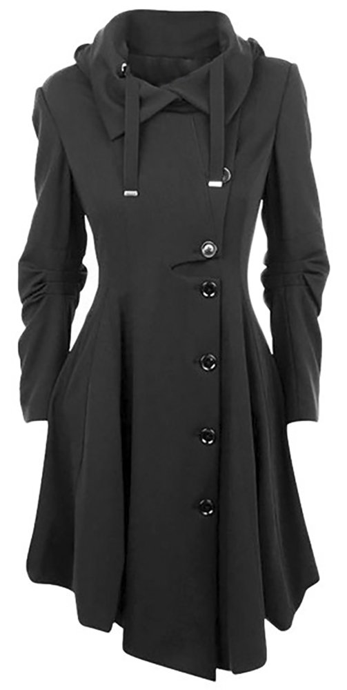 QZUnique Women's Long Personality Collar Outwear Slim Trench Coat Black US 6-8