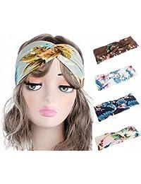 Qhome Women Headband Vintage Elastic Printed Head Wrap Stretchy Moisture Hairband Twisted Cute 5pcs