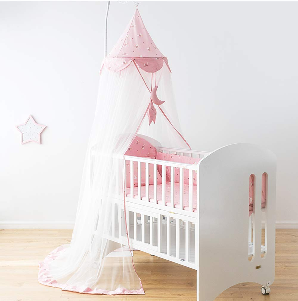 Yon Baby Mosquito Net Bed Canopy, Baby Canopy Bed Netting Adjustable Portable Infant Tent Folding Infant Travel Crib Netting Mosquito Bed Summer (Pink)