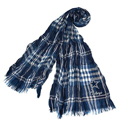 正しく習熟度破壊NFLダラス?カウボーイズCrinkle格子柄スカーフ、ネイビー、グレー、70-inch by 25-inch