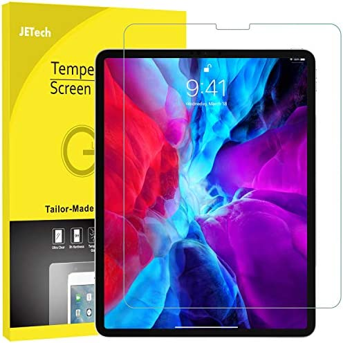 JETech Screen Protector for iPad Pro 12.9-Inch (2020 and 2018 Model, Edge to Edge Liquid Retina Display), Face ID Compatible, Tempered Glass Film