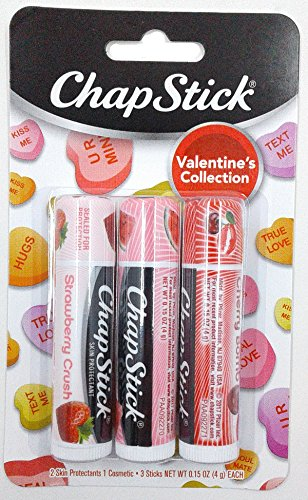 Chapstick Valentine Collection 2017, Pack of 3, Strawberry Crush, Watermelon Kiss & Chery Bomb, 0.15 Oz Ea