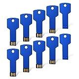 RAOYI 10PCS 2GB USB Flash Drive Metal Key Design USB Flash Drive Metal Key Shaped Memory Stick USB 2.0 Blue 2G