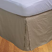 Relaxare Full XXL 500TC 100% Egyptian Cotton Taupe Solid 1PCs Box Pleated Bedskirt Solid (Drop Length: 15 inches) - Ultra Soft Breathable Premium Fabric