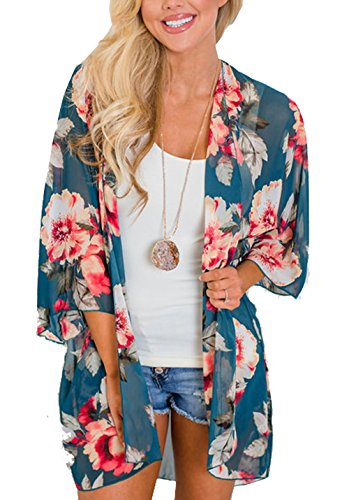 (Relipop Women's Chiffon Blouse Loose Tops Beach Kimono Floral Print Cardigan (X-Large, Type 19))