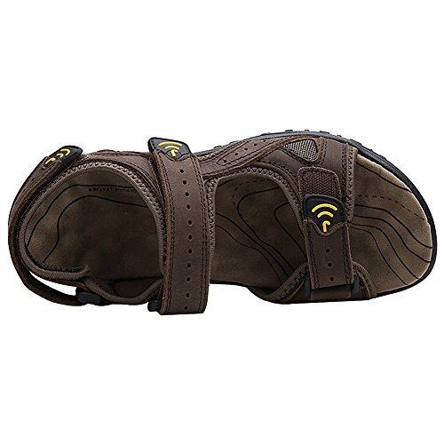 Air De Velcro Sport Chaussures De Jamron D'été En Sangles Sandales Léger Plein Hommes Café Cuir Véritables Uaa7gq