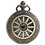 VIGOROSO Wheel Style Vintage Retro Steampunk Bronze Pocket Watch Necklace Pandant Men Lady Gift