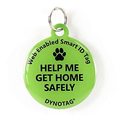 Dynotag Web/Location Enabled QR Code Smart Deluxe Coated Steel Pet Tag. (Green:Help Me Get Home Safely) (Impact Tag)