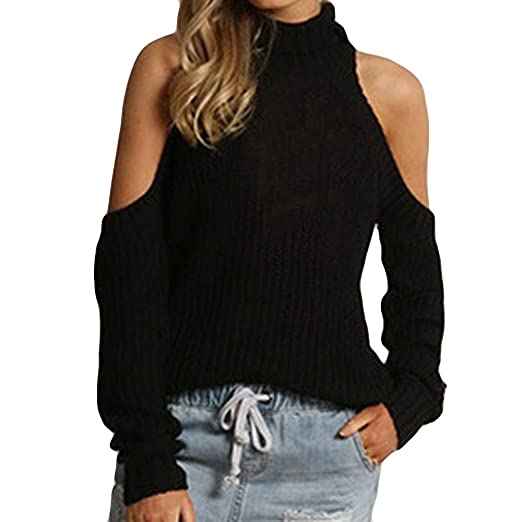 df9ad1f3b86 Wobuoke Women Fashion Solid Cold Shoulder Sexy Long Sleeve Top ...