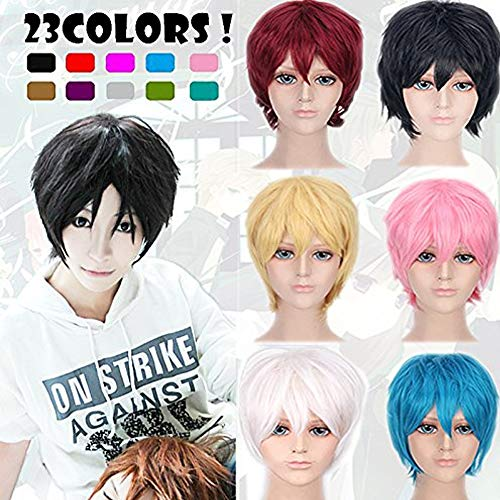 2-5 Days Delivery Unisex Japanese Anime Cosplay Wigs pink Synthetic Short Full Party Costume Wig Layered with Bangs and Cap Halloween Wigs for Women Men Girl Boy Teens (pink)
