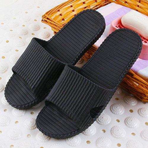 Wysbaoshu Donna Uomo Pantofole Antiscivolo Sandali Da Bagno Morbido Pantofola Casa Massaggio Nero
