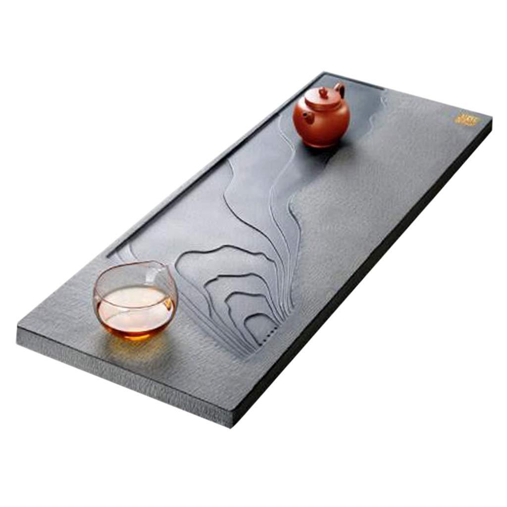 Tea tray Chinese Kung Fu Tea Set Natural Ebony Simple Household Tea Sea Tea Japanese Style Tea Set Convenient Drainage (Color : Black, Size : 50x20x3cm) by Tea tray