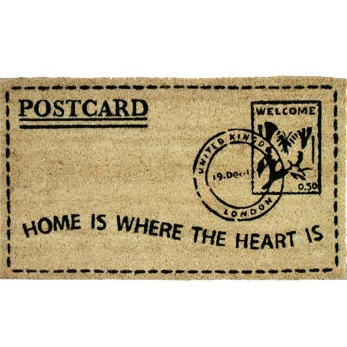 JVL Home Is Where The Heart Is Stamp PVC Backed Coir Entrance Door Mat, Fabric, Brown, 40 x 70 cm 35-02-517HE