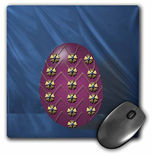 3dRose LLC 8 x 8 x 0.25 Inches Mouse Pad, Picturing Elegant Faberge Egg Ready for Easter Morning Jeweled Maroon Egg On A Teal Curtain (mp_44025_1) (Jeweled Faberge Eggs)