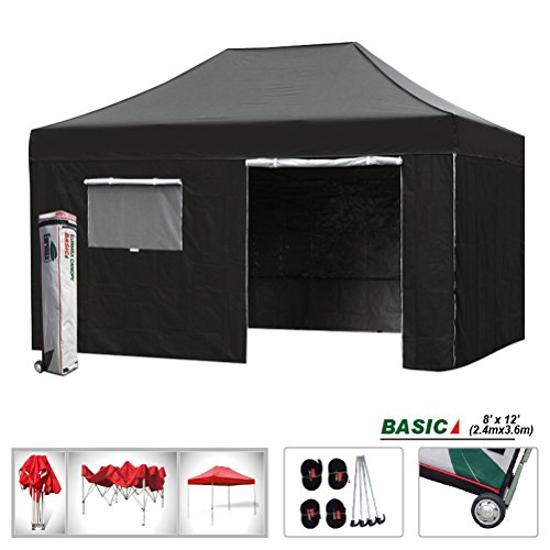 Enclosed Canopy (Eurmax Basic 8x12 Ez Pop up 4 Wall Canopy Instant Outdoor Party Tent Shade Gazebo+4 Sidew Walls (Black,)