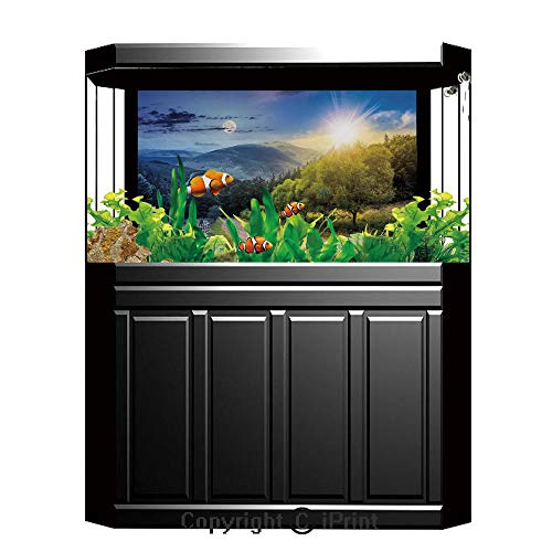 Terrarium Fish Tank Background,Farm House Decor,Day and Night Collage View with Moon and Sun Horizon Countryside Hillside,Green Blue,Photography Backdrop for Pictures Party Decoration,W48.03