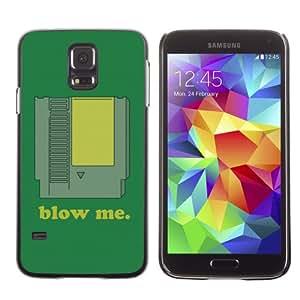 CaseCaptain Carcasa Funda Case - Samsung Galaxy S5 V SM-G900 / Funny BLOW ME Video Game Cartridge /