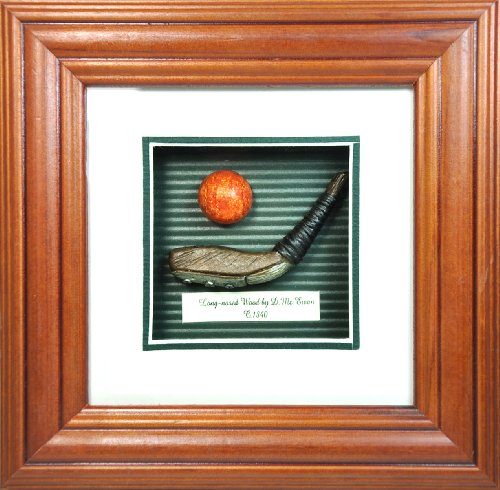 Golf History Shadow Box - Long-nosed Wood Club and Golf Ball Shadow Box