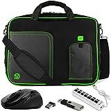 VanGoddy Green Trim Laptop Messenger Bag w/Flash Drive, Mouse & USB Hub for Asus Q304UA/Q325UA 2-in-1 13.3'' Touch-Screen Laptop