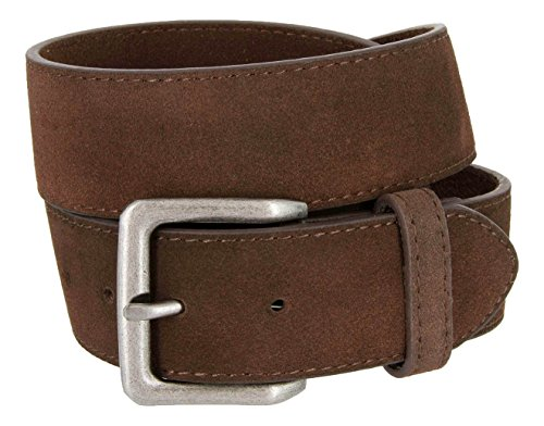 Leather Women Suede (Square Buckle Casual Jean Suede Leather Belt for Women (Brown, 34))