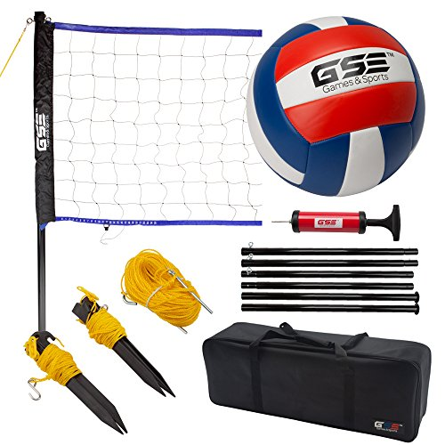 (GSE Games & Sports Expert Portable Volleyball Set. Including Volleyball Net System and Volleyball with Pump (Recreational))