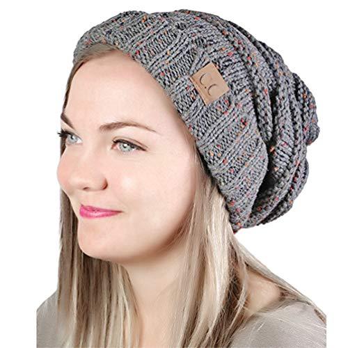 MissPretty Knit Beanie Slouchy Hat Winter Knitted Hats Soft Warm Ski Cap for Women and Men (Dark Gray)]()