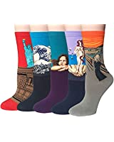 5 Pairs Womens Famous Painting Art Printed Funny Casual Crew Socks by Chalier