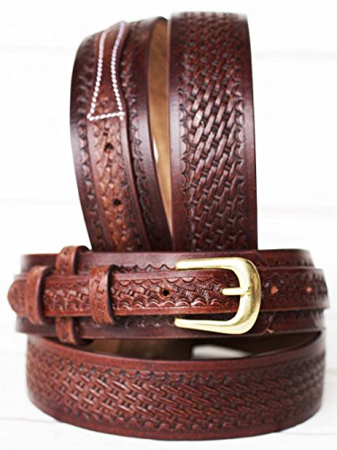 PRORIDER 57-58 Men's Western Ranger Belt Tooled Leather Basket Weave 26Ranger03 ()