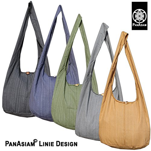 Panasiam© Schulterbeutel, hier in 2 Größen, vielen Farben & Design, mit extra Innentasche, aus fester freshrunk Baumwolle, NEU: mit doppelten Stoff.. Dunkel Blau